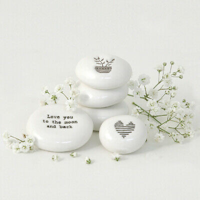 East Of India Porcelain Pebbles Inspirational Sentiments Gift Token Favours Xmas • 5.75£