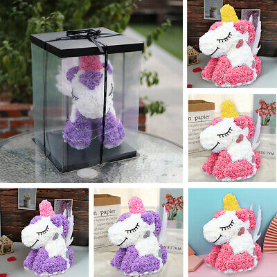LED Light Foam Rose Romantic Unicorn Doll With Box Birthday Gift Wedding Lovely • 18.95£