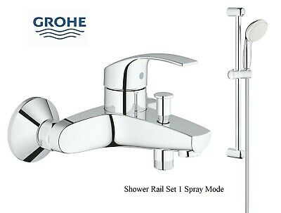 Grohe Eurosmart Bath Shower Mixer Tap Wall Mounted + Tempesta 1 Slide Rail Kit • 109.95£