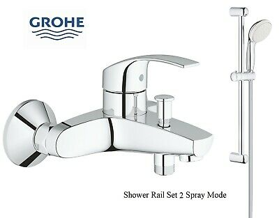Grohe Eurosmart Bath Shower Mixer Tap Wall Mounted + Tempesta 2 Slide Rail Kit • 119.95£