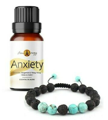 AU12.90 • Buy ANXIETY Essential Oil & Diffuser BRACELET Set (Turquoise) Lava Stone