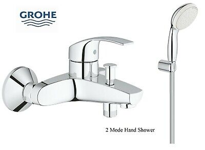 Grohe Eurosmart Bath Shower Mixer Tap Wall Mounted + Tempesta 2 Handshower Kit • 109.95£