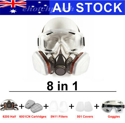 AU23.98 • Buy 8 In 1 Suit 6200 Half Face Gas Respirator 6001CN Painting Spraying+Goggles AU
