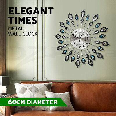 AU54.95 • Buy Large Modern 3D Crystal Wall Clock Luxury Art Silent Round Dial Home Decor