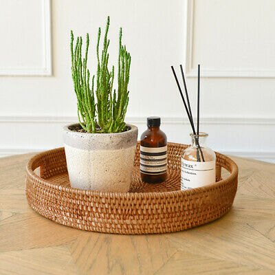 £20.99 • Buy Rattan Storage Tray Round Basket Hand-Woven Home Decor Bread Fruit Food Display