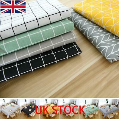 Table Cloth Cotton Rectangular Waterproof Tablecloth Kitchen Dining Tablecloths • 7.99£