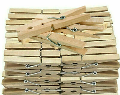 Wooden Clothes Pegs Clips Pine Washing Line Airer Dry Line Wood Peg Gardens • 2.79£