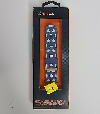 $ CDN7.22 • Buy NEW FITBIT BLAZE BLACKWEB REPLACEMENT BAND WITH STEEL BUCKLE Blue Polka Dots