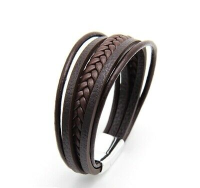 Mens' Leather Bracelet, Multi Strand, Silver Magnetic Clasp, Mens' Jewellery • 7.29£