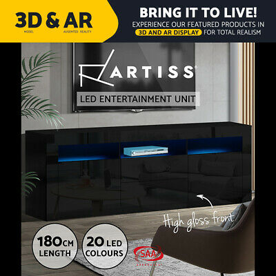 AU219.95 • Buy Artiss TV Cabinet Entertainment Unit Stand RGB LED Gloss Drawers 180cm Black