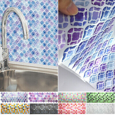 3D Mosaic Tile Stickers Stick On Bathroom Kitchen Home Wall Decals Self-adhesive • 5.19£