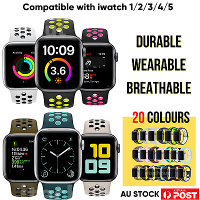 AU4.98 • Buy Apple Watch Strap Silicone Nike Sports Band IWatch Series 54321, 38,40,42,44mm