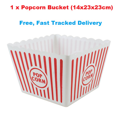 Large Retro Striped Cinema Design Striped Plastic Popcorn Holder Tub • 6.99£