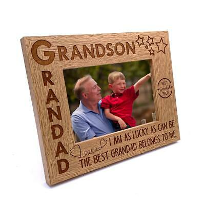 £10.99 • Buy Grandad And Grandson Wooden Photo Frame Gift FW456