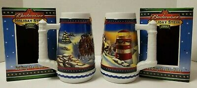 $ CDN44.11 • Buy 2 Budweiser 2002 Holiday Steins Guiding The Way Home Complete W/boxes FREE SHIP