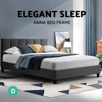 AU94.95 • Buy Bed Frame Double Size Base Mattress Platform Fabric Wooden ANNA Charcoal