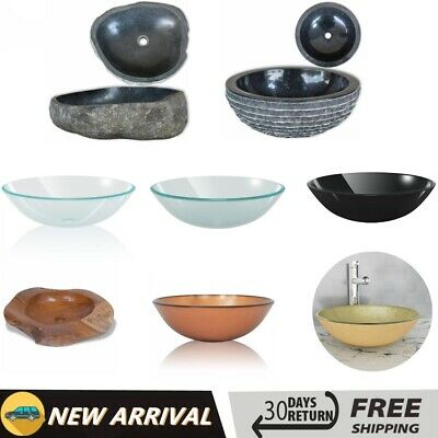 Bathroom Cloakroom Oval Wash Basin Sink Washing Bowl River Stone/Glass/Marble • 82.29£
