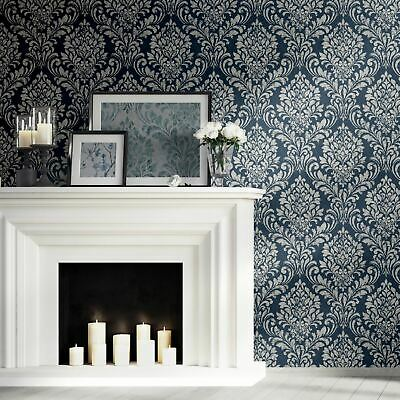 Eleanor Damask Blue 173513 Metallic Wallpaper By Muriva Darcy James Collection • 10.99£
