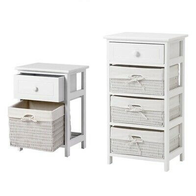 Storage Unit Basket Chest Of Drawers Rattan Bathroom Furniture Shelf Cabinet • 72.99£