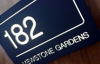 LED Illuminated / Lit Modern Contemporary House Sign / Door Number • 86.99£