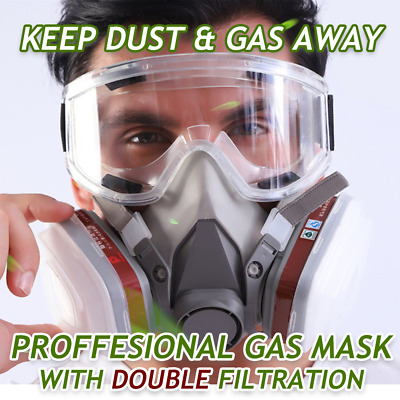 AU29.89 • Buy 8 In 1 Half Face Respirator 6200 Painting Spray Chemical Gas Mask With Goggles