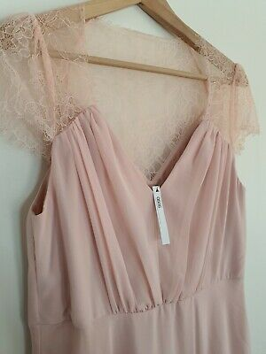 AU71.20 • Buy Asos Size 16 *Brand New* Full Length Evening Formal Dress Bridesmaid Pink Lace