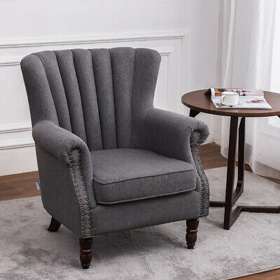£169.95 • Buy Victorian Retro Accent Armchair Wing High Back Chair Upholstered Lounge Fabric
