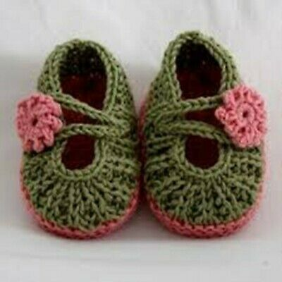 Handmade Crochet Newborn Baby Booties Shower Infant Girls Casual Shoes Knitted  • 4.99£