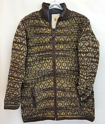 Pachamama 100% Wool Chunky Knit Brown Mix Collared Cardigan Fleece Lined Zip L • 65£