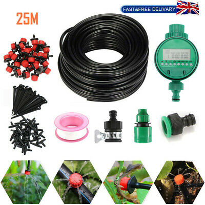 25M Automatic Drip Irrigation System Kit Plant Timer Self Watering Garden Hose • 18.98£