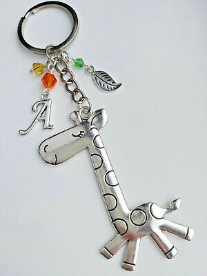 Cute GIRAFFE Keyring With PERSONALISED Initial In Little Organza Gift Bag  • 2.65£