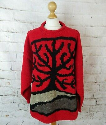 Vintage 90s Pachamama *Rare* Red Tree Of Life Jumper Chunky Pure Wool XL 20 22 • 87.99£