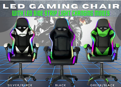 AU199 • Buy RGB LED Lighting Gaming Office Chair Racing Recliner Chair With Remote