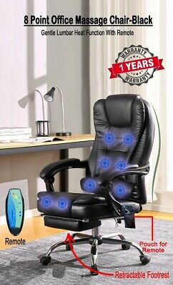 AU169.99 • Buy Executive Office Computer Chair Recliner Heated 8 Point Massage Black