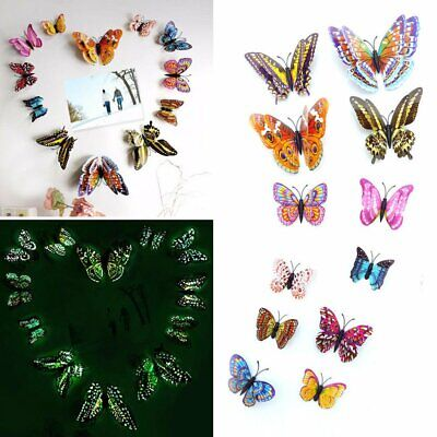 AU10.45 • Buy 12Pcs 3D Butterfly Glow In The Dark Decal Wall Magnetic Sticker Room Home Decor