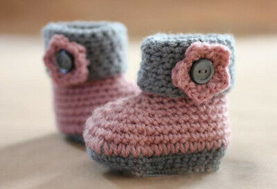 Handmade Crochet Knitted Newborn Baby Girls Booties Bow Long Shoes 3 Sizes • 4.99£