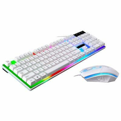 White Wired Gaming Keyboard And Mouse Set Rainbow For PC Laptop Computer XBOX UK • 13.89£