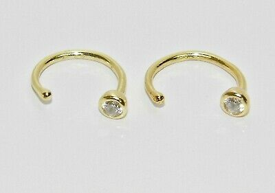 9ct Yellow Gold On Silver Pull Through Hoop Earrings - Diamond Stopper • 5.35£