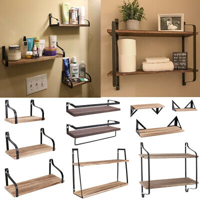 Muti-Style Wooden Metal Floating Shelves Kitchen Bathroom Office Cafe DIY Rack • 22.95£