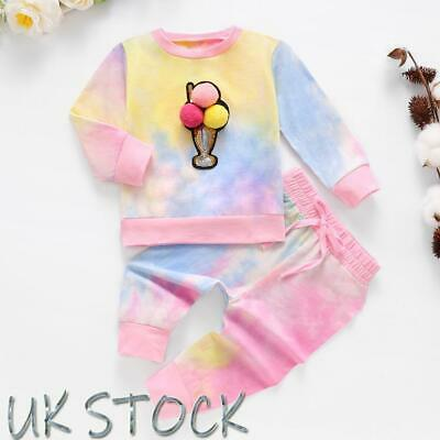 Sweet Baby Toddler Girl Tie-dye T-shirt Tops Pants Tracksuit Outfits Clothes Set • 9.99£