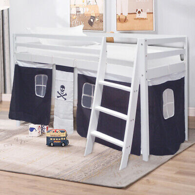 Cabin Bed Mid Sleeper Kids Bunk Bed Pirate Design Skull Curtain Tent Wooden Pine • 169.95£