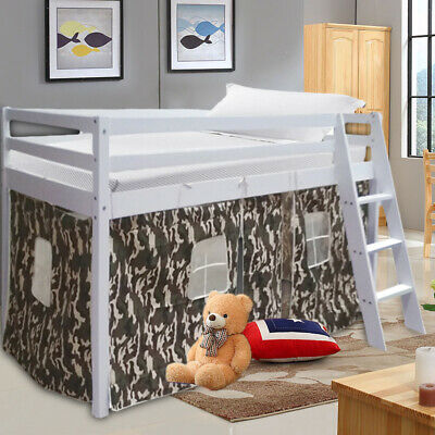 Solid Wooden Cabin Bed Mid Sleeper Kids Bed White Frame Camouflage Tent Curtain • 169.95£