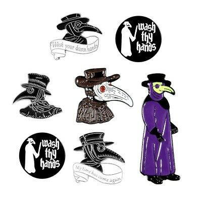 Plague Doctor Enamel Pin Set Steampunk Gothic Badge Gifts For Nurse Friends • 1.74£