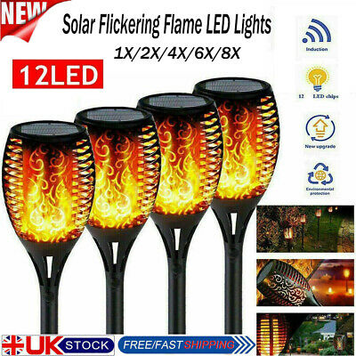 8 Packs Solar Flame Light Flickering LED Torch Lamp Waterproof Garden Landscape • 14.98£