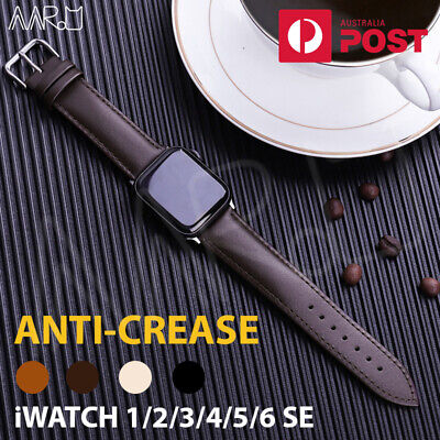 AU10.68 • Buy Leather Apple Watch Band Strap For IWatch Series 6 SE 5 4 3 2 1 38/40mm 42/44mm