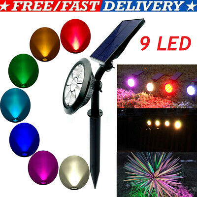 9 LED Solar Spot Lights Color Changing Garden Light Outdoor Waterproof Lamp UK • 12.95£