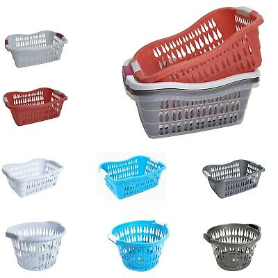 Plastic Laundry Basket Hamper Washing Clothes Storage Bin With Handles 3 Colours • 6.99£