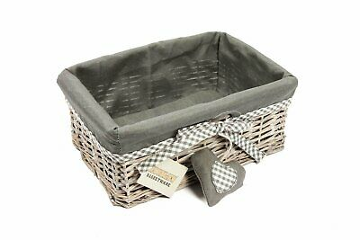 Woodluv Grey Wicker Storage Gift Hamper Shelf Basket With Lining, Medium • 14.64£