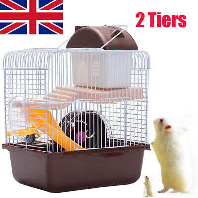 Hamster Cage 2 Tiers Dwarf Hamster,Gerbil, Ladder House Villa Cage Exercise Toys • 11.31£