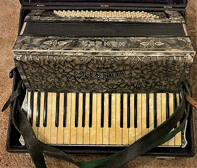 $260 • Buy M. Hohner Accordion-germany-1950's-ornate Mother Of Pearl Design-120 Bass